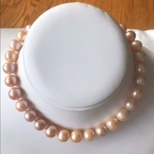 10.5mm+ Hand Knotted Peach Pearls-925 Silver Clasp